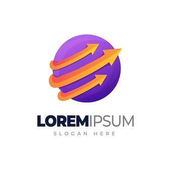 Design de logotipo gradiente de seta em círculo globo com modelo de logotipo de seta