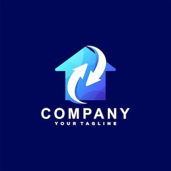 Design de logotipo gradiente de seta interna