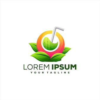Design de logotipo gradiente de suco de fruta
