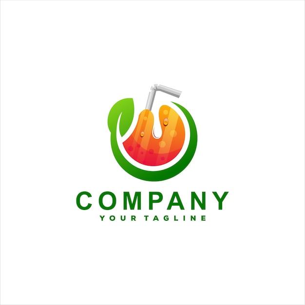 Design de logotipo gradiente de suco de laranja