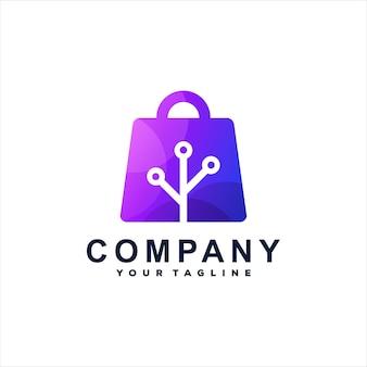 Design de logotipo gradiente de tecnologia de compras Vetor Premium