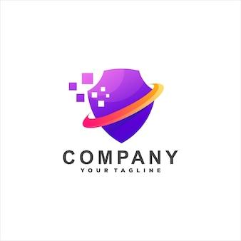 Design de logotipo gradiente de tecnologia de escudo