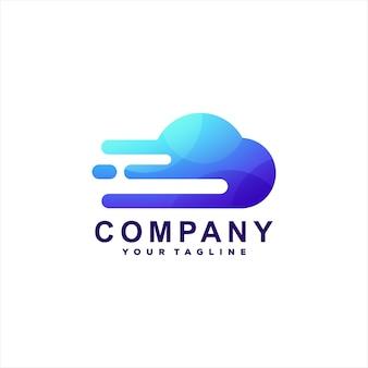 Design de logotipo gradiente de tecnologia de nuvem