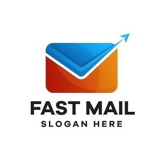 Design de logotipo gradiente do fast mail