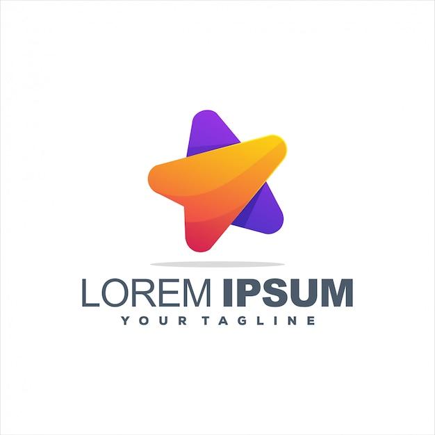 Design de logotipo gradiente estrela impressionante