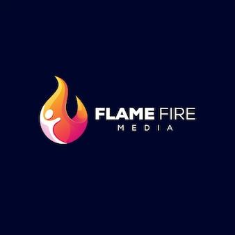 Design de logotipo gradiente flame people