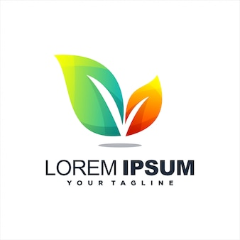 Design de logotipo gradiente impressionante folha