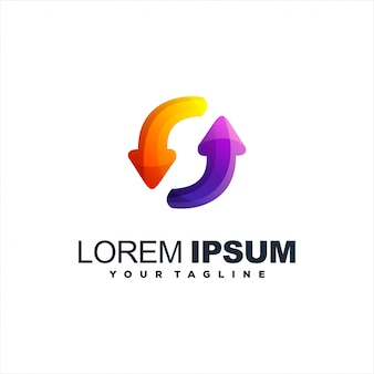 Design de logotipo gradiente impressionante seta