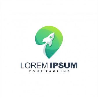 Design de logotipo gradiente incrível foguete