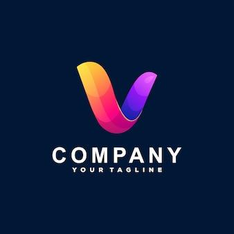 Design de logotipo gradiente letra v
