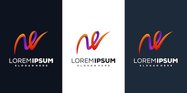 Design de logotipo gradiente letra w