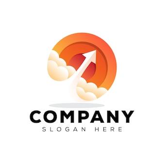 Design de logotipo gradiente negócios seta foguete