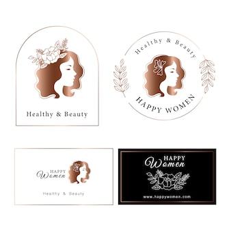 Design de logotipo gradiente ouro rosa mulher.