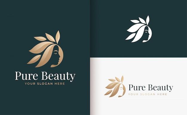 Design de logotipo gradiente ouro salão de cabelo de mulher