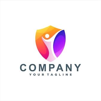 Design de logotipo gradiente para pessoas com escudo