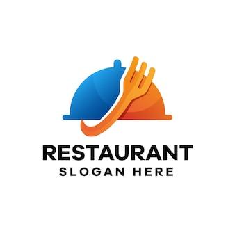 Design de logotipo gradiente para restaurantes