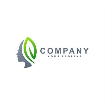Design de logotipo gradiente para senhora da beleza Vetor Premium