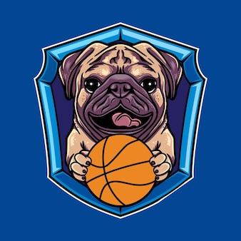 Design de logotipo gráfico vetorial de desenho de cão pug com estilo de basquete retro vintage