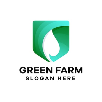 Design de logotipo green farm gradient