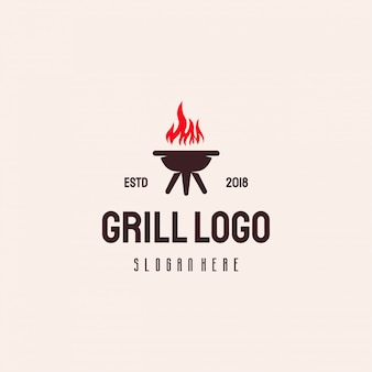 Design de logotipo grill food, modelo de logotipo de churrasco