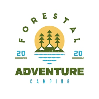 Design de logotipo grunge da floresta do lago