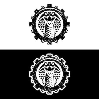 Design de logotipo grunge de engrenagem cobra