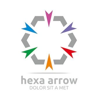 Design de logotipo hexa arrows