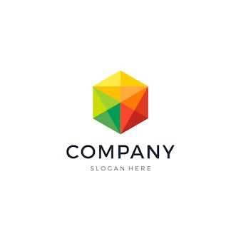 Design de logotipo hexagon pixel