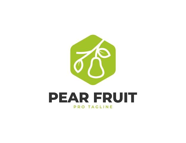 Design de logotipo hexagonal com frutas frescas de pêra