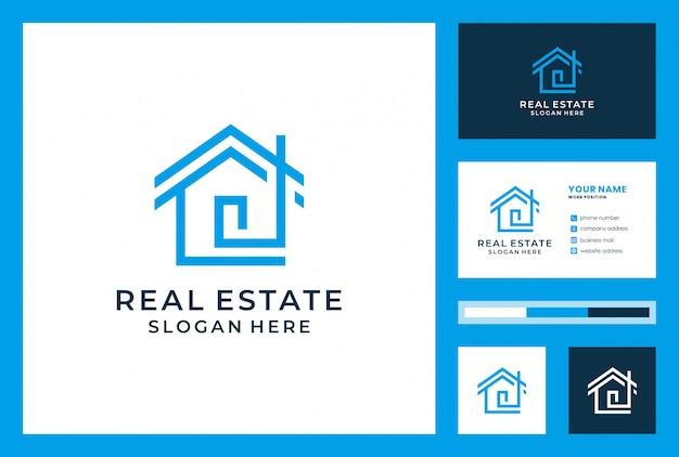 Design de logotipo imobiliário com cartão de visita