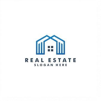 Design de logotipo imobiliário, ilustração de construção