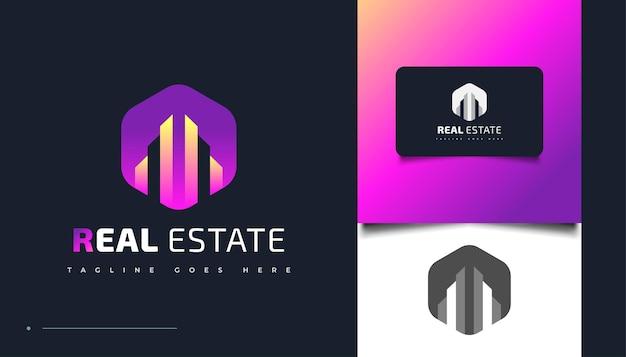 Design de logotipo imobiliário moderno e colorido. modelo de design de logotipo de construção, arquitetura ou edifício
