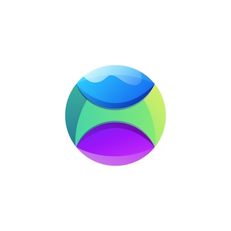 Design de logotipo impressionante bola gradiente colorido