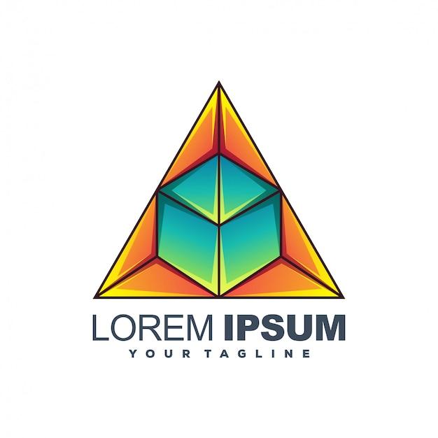 Design de logotipo impressionante cor triângulo