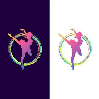 Design de logotipo impressionante dança colorida