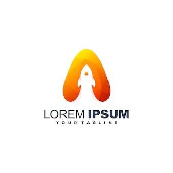 Design de logotipo impressionante foguete gradiente
