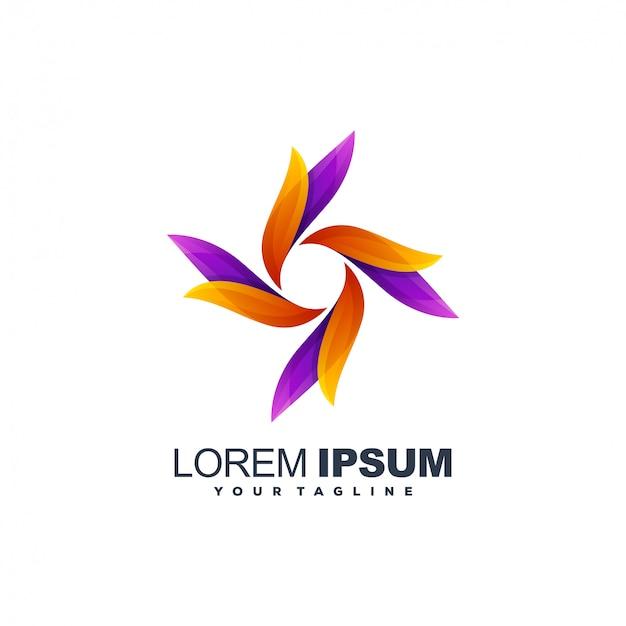 Design de logotipo impressionante folha gradiente