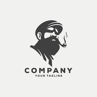 Design de logotipo impressionante homem barbudo