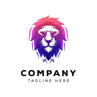 Design de logotipo impressionante leão cabeça gradiente