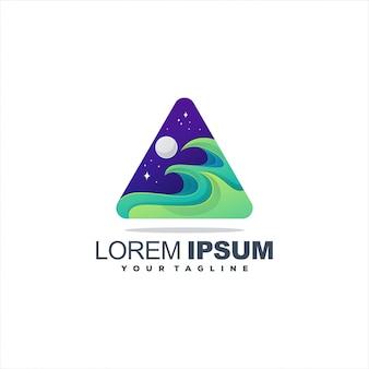 Design de logotipo impressionante ondas gradiente