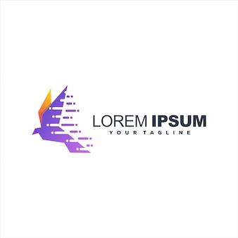 Design de logotipo impressionante pássaro gradiente