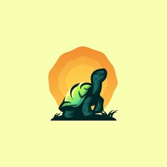 Design de logotipo impressionante tartaruga do sol
