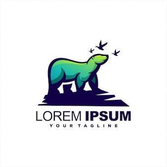 Design de logotipo impressionante urso gradiente