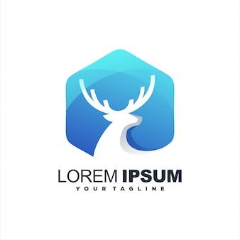 Design de logotipo impressionante veado gradiente