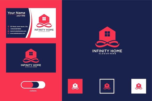 Design de logotipo infinito para casa e cartão de visita