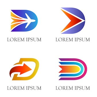 Design de logotipo inicial / letra d plana