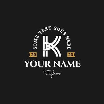 Design de logotipo inicial letra rústica k