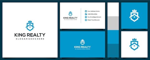Design de logotipo king realty com conceito de cartão de visita