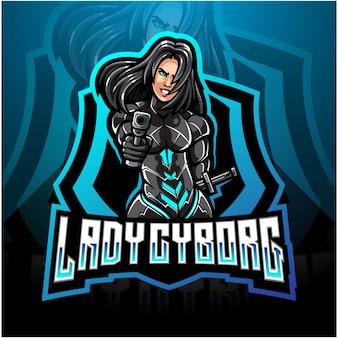 Design de logotipo lady cyborg esport mascote