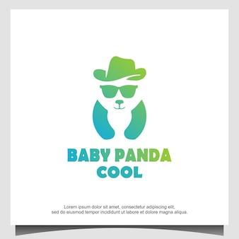 Design de logotipo legal do bebê panda